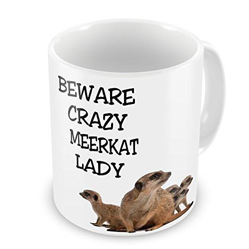 Image of Beware Crazy Meerkat Lady Novelty Gift Mug