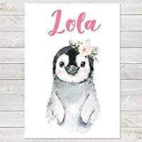 Baby Penguin with Flower, Cute Personalised Animal Print for Kids, A4 or A3