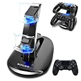 Bonusis Caricatore Controller PS4 Caricatore per Controller PS4 Docking Station a Doppio Caricatore USB con Indicatore LED per Sony Controller Playstation 4 PS4/PS4 Pro/PS4 Slim [Nero]