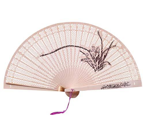 Ziyou Chinesisches traditionelles hohles Fan-hölzernes handgemachtes vorzügliches faltendes Hochzeitsgeschenk(23 cm, Mehrfarbig C)