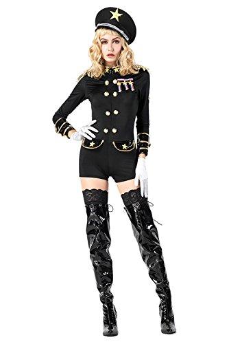 Polizistin Handschuhe Sexy Kostüm - RedJade Sexy Polizistin Polizei Cosplay Kostüm Set Kurzer Jumpsuit, Handschuhe und Hut, Schwarz Damen