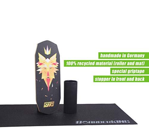 BoarderKING Indoorboard Indoor Skateboard Surfboard Trickboard Balanceboard - Balance Board Indo Board (Oktagon, 125mm Rolle)