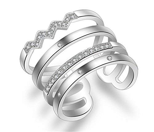 Summens Damen 925 Sterling Silber Zirkonia Verstellbar Partnerringe Öffnung Ring Freundschaftsringe Ring für Frauen Geschenk
