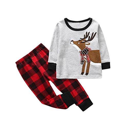 Bebé Navidad Ciervo Trajes Ropa camiseta Tops y Pantalones para Niña niño por ESAILQ