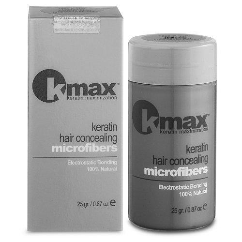 K-Max 25 G NOIR Poudre de Cheveux 100% Naturelle – Donne du Volume, Masque l'alopécie