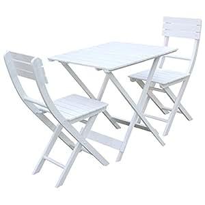Charles Bentley Garden Wooden Garden Patio Furniture Bistro Set Table and 2-Chairs - White (3 Pieces)