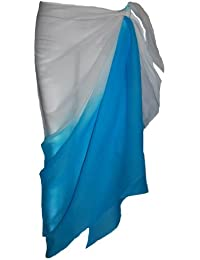 Two Tone White and Turquoise Sarong