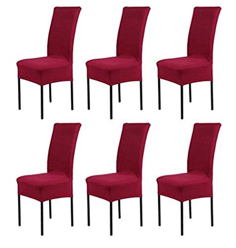 Hmwish 6 pezzi coprisedia con schienale, moderne universale coprisedie elasticizzato cucina salotto coprisedie sala da pranzo rosso scuro