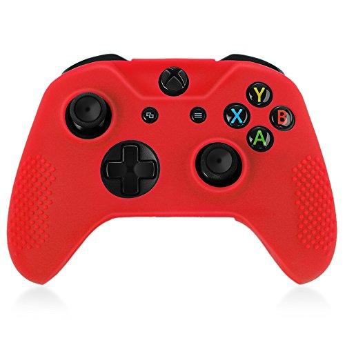 TNP Xbox One S/Xbox Elite Controller Case (Schwarz)-Weich Silikon Gel Gummi Grip Case Schutzhülle Haut für Xbox One S/Xbox Elite Wireless Game Gaming Gamepad Controller Rot Rot - Xbox Controller Camo Wireless 360