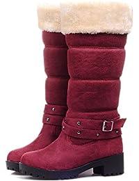 JUWOJIA Las Mujeres Botas De Nieve De Invierno Dulce Moda Casual Zapatos De Tacón Cuadrado,Rojo Vino,40
