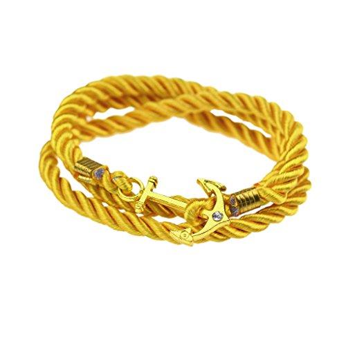 Jiayiqi Brillant Diamante Ancre Bracelet Multicouches Tissé Corde Bracelet Pour Les Femmes Hommes NO 6