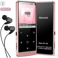 16Go MP3 Bluetooth 4.0 en Métal avec Boutons Tactiles, Hommie Lecteur de Musique HiFi Radio FM, Baladeur MP4 Sport avec Bouton de Volume Indépendant, Supporte Carte Micro SD Jusqu'à 128G, Rose