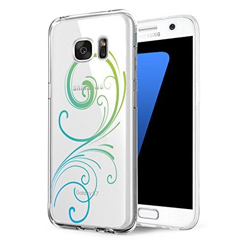 Pacyer kompatibel mit Galaxy S6 / S6 Edge / S6 Edge Plus Hülle transparent Silikon Ultra dünn Cooler grüne Blätter Wolf Schutzhülle Rückschale Handyhülle TPU Back cover (3, S6 Edge Plus) Blau Back Cover