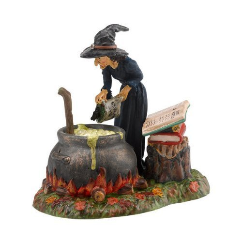 WITCH Figurine Fire Burn & Cauldron Bubble Dept 56 Halloween Village Accessory by Dept 56