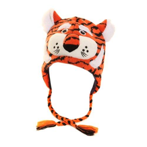 Kinder Unisex Thermomütze / Wintermütze Tier mit Ohren, verschiedene Designs (One Size) (Tiger) (Junge Affen Ohren Stirnband Kind)