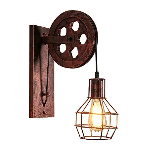 WFY Vintage Wandleuchten Verstellbare Sockel Industrielle Beleuchtung Rustic Draht Metall-Käfig Sconces Innen Zuhause Wandleuchte Retro Licht Leuchte -