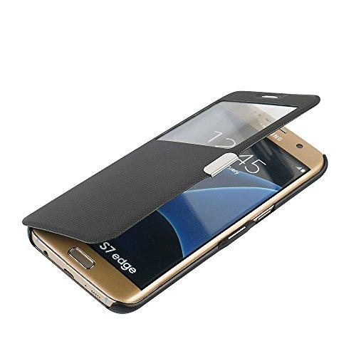 MTRONX para Funda Samsung Galaxy S7 Edge, Cover Carcasa Case Caso Ventana Vista Folio Flip Tela Asargada PU Cuero Delgado Piel con Cierre Magnetico para Samsung Galaxy S7 Edge - Negro(MG1-BK)