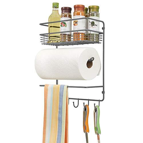 mDesign praktischer Papierrollenhalter - vielseitiges Wandregal aus Metall für Küche und Vorratskammer - mit tiefem Drahtkorb und Vier Haken - grau