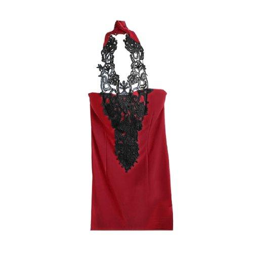 Femme Dos Nu Caché Fermeture Éclair Latérale Fin Chemise Tunique Rouge