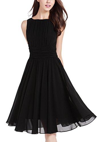 MILEEO Damen Chiffon Kleid Knielang mit Plissee-Falten Ärmellos Cocktailkleid EU36(Herstellergröße:S) Schwarz - Röcke Plissee Ärmelloses Kleid