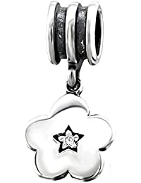 So Chic Joyas - Abalorio Charm pétalos flor 5 Estrella central redondeado con Circonita Blanca - Compatible con Pandora, Trollbeads, Chamilia, Biagi - Plata 925