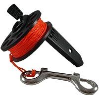 Scuba Choice Scuba Diving Compact Finger Spool with Plastic Handle, 65', Orange Line