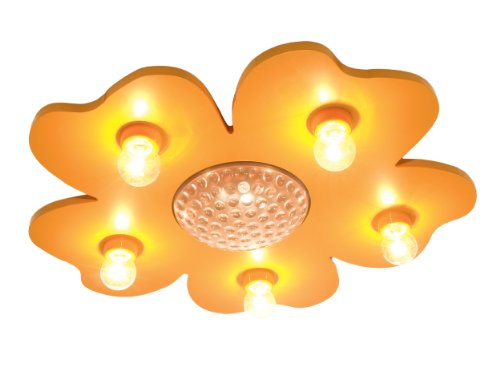 Niermann Standby Deckenleuchte Happy-Flower mit LED-Farbwechsel-Projektor und Fernbedienung, maisgelb (Leuchten Zauberstab Prinzessin)