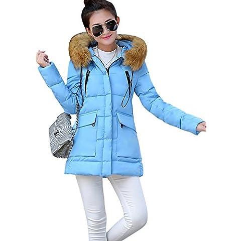 SaiDeng Chaqueta Abrigo De Con Capucha De Manga Larga Para Mujer Azul S