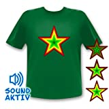 Stern T-Shirt Equalizer LED T-Shirt reagiert auf Sound (Small)