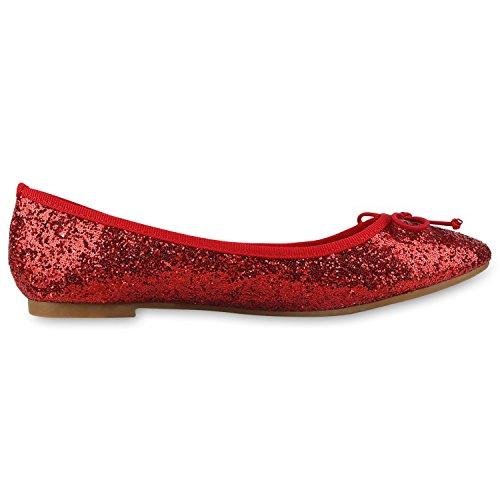 napoli-fashion Klassische Damen Ballerinas Glitzer Schuhe Flats Lackleder-Optik Slippers Ballerina Schuhe Schleifen Freizeitschuhe Jennika Rot Glitzer