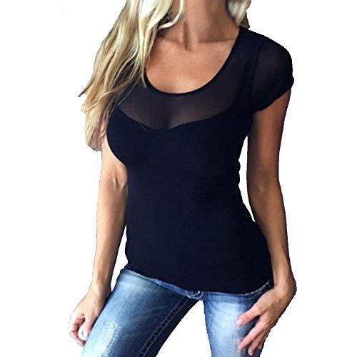 Damen Sexy Kurzarm Shirt Transparent Tüll Mesh Bluse Body T-Shirt Tunika Tops Dehnbar Clubwear Shirt mit V-Ausschnitt (Schwarz, M) (Body Top Shirt)