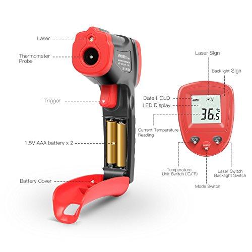 ~ Eventek Termometro Infrarossi, Termometro Laser -50°C~380°C (-58°F~716°F), Termometro Senza Contatto, Digital LCD, Illuminazione, Nero/Rosso lista dei prezzi