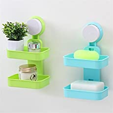 Baby Basket Double Layer Plastic Attachable Vacuum Suction Soap Dishes, Toilet Shower Tray - 1 Pc