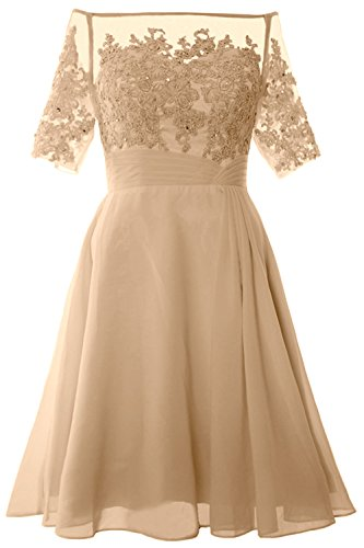 MACloth Women Off Shoulder Mother of Bride Dress with Sleeve Midi Cocktail Dress Champagne
