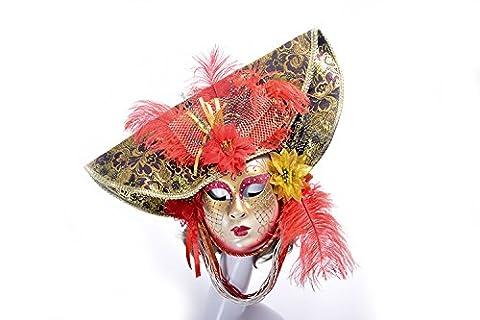 K&C Halloween Kostüm Masquerade Maske Venedig Stil Maske Mit Federn Rot (Griechischen Frau Kostüm)