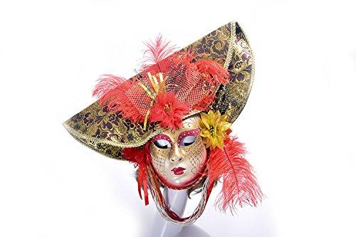 K&C Halloween Kostüm Masquerade Maske Venedig Stil Maske Mit Federn Rot (Griechische Krieger Halloween Kostüm)