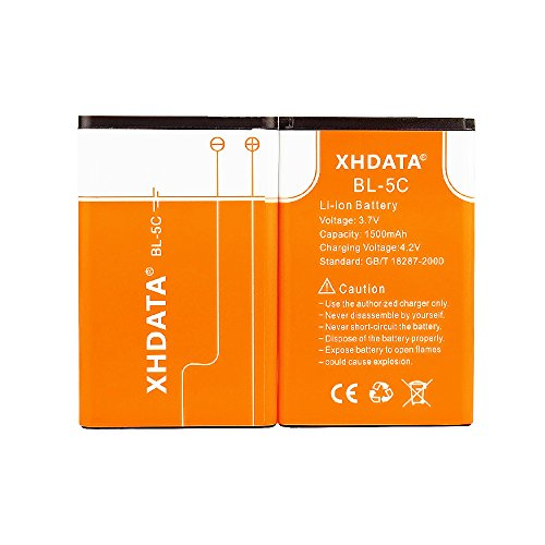 XHDATA BL-5C 3.7V 1500Mah Rechargeable Li-Ion Battery Intelligent Charge& Protection Circuit Environmental for Mobile Phone Nokia Akku
