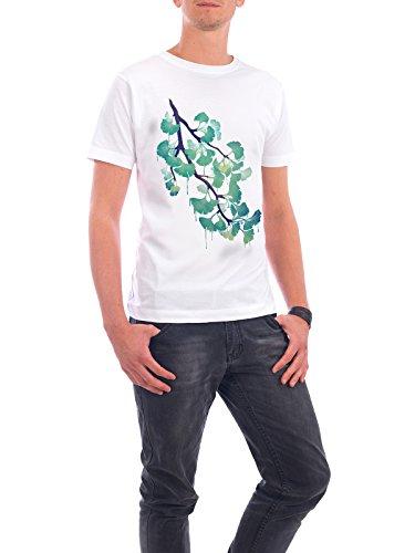"Design T-Shirt Männer Continental Cotton ""O Ginkgo (in Green)"" - stylisches Shirt Floral Natur von littleclyde Weiß"