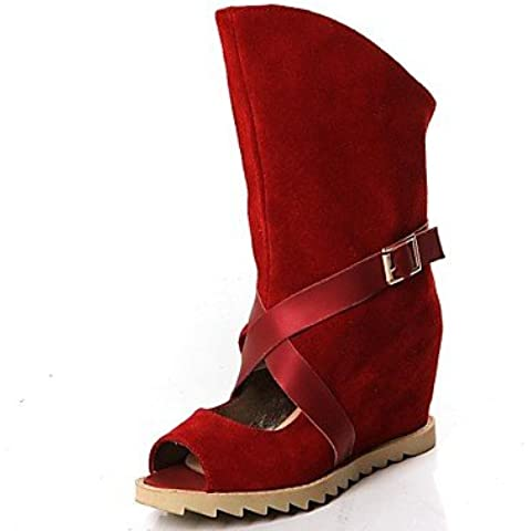 Ei&iLI Zapatos de mujer-Tacón Cuña-Tacones / Punta Abierta-Sandalias / Botas-Exterior / Oficina y Trabajo / Vestido-Microfibra-Negro / Marrón / , black , us8 / eu39 / uk6 / cn39