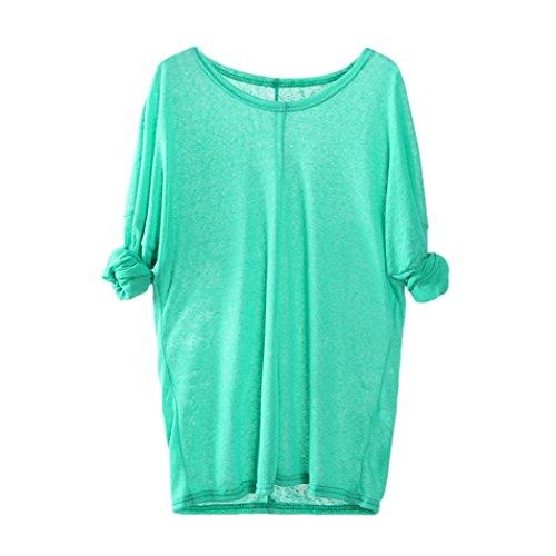 Blusa de Mujer Sexy Covermason Suéteres Que Tejer de Las Mujeres de Manga Larga con Cuello en V Floja Ocasional Blusa Tops(M, Verde)