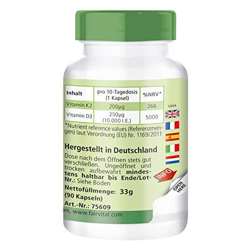 41gJ54 hfKL - Vitamina K2 200 mcg con D3 10000 IU - Altamente dosificado - 90 cápsulas solamente 1 cápsula cada 10 días - ¡Calidad Alemana garantizada!