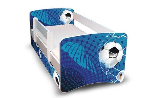 Best For Kids Kinderbett 90x160 mit Rausfallschutz + Schublade 44 Designs (Goal)