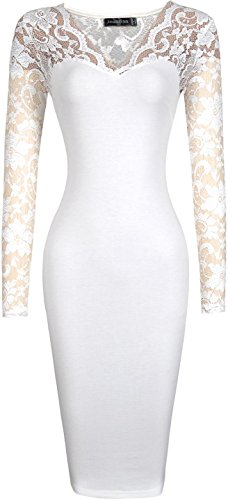 jeansian Donna Retro Fascino Elegante Sottile Pizzo Ginocchio Gonna Pencil Dress WKD256 White XS