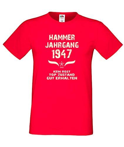 Geburtstags Fun T-Shirt Jubiläums-Geschenk zum 70. Geburtstag Hammer Jahrgang 1947 Farbe: schwarz blau rot grün braun auch in Übergrößen 3XL, 4XL, 5XL rot-01
