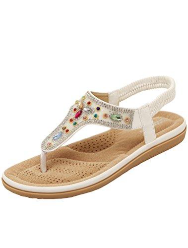 Vogstyle Femme Sandales Compensées Tongs Semelle Chaussures Plates Eté Flip Flops Style 3 Blanc