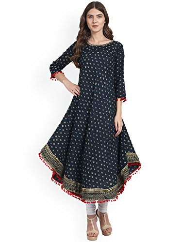Amayra Womens Cotton Blue Printed Anarkali Kurti(XX-Large,Blue)