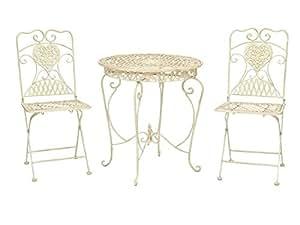 gartentisch und 2 st hle bistrotisch eisen garten antik stil gartenm bel weiss. Black Bedroom Furniture Sets. Home Design Ideas