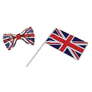 WPN Union Jack Set 1 HANDWAVING Flag and 1 Sequin Bow TIE