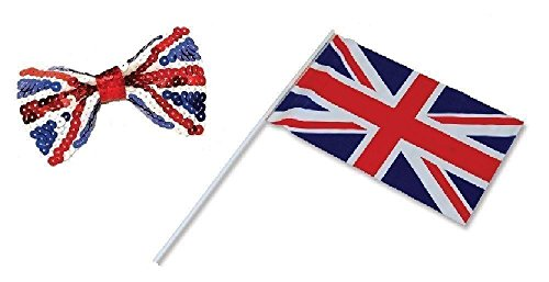 UNION JACK SET 1 HANDWAVING FLAG AND 1 SEQUIN BOW TIE