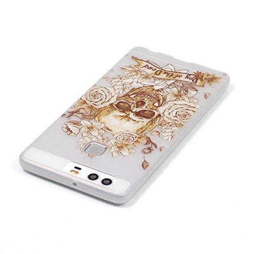 CaseHome Huawei P9 Luminous Hülle (Mit Frie Displayschutzfolie) Leuchtende Silikone Rückhülle Für iPhone 6 6s Plus 5.5 Zoll Zoll Silikon Etui Handy Hülle Weiche Transparente Luminous TPU Back Case Tas Gold Schädel-Rosen